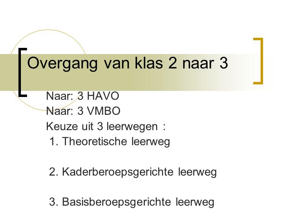 Overgang van klas 2 naar 3 Naar: 3 HAVO Naar: 3 VMBO Keuze uit 3 leerwegen : 1.