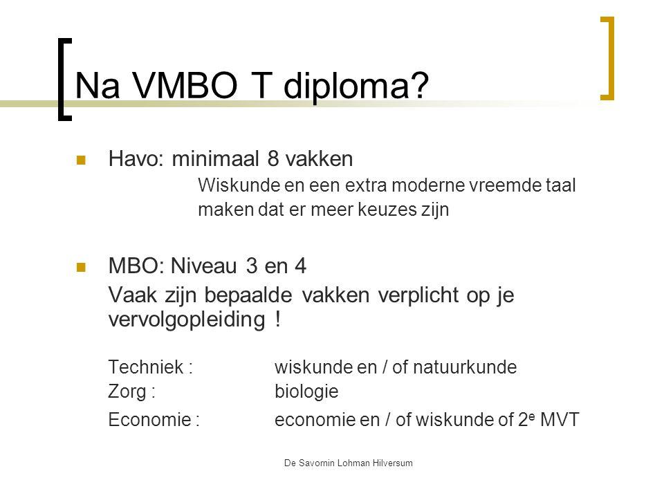 De Savornin Lohman Hilversum Na VMBO T diploma.