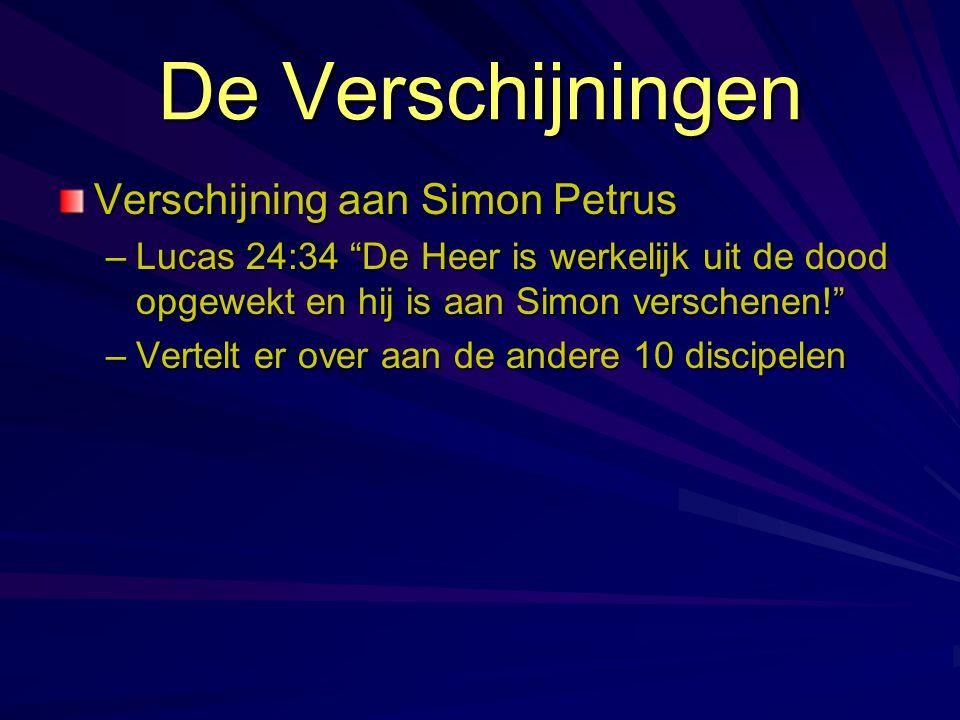 """Verschijning aan Simon Petrus –Lucas 24:34 """"De Heer is werkelijk uit de dood opgewekt en hij is aan Simon verschenen!"""" –Vertelt er over aan de andere"""