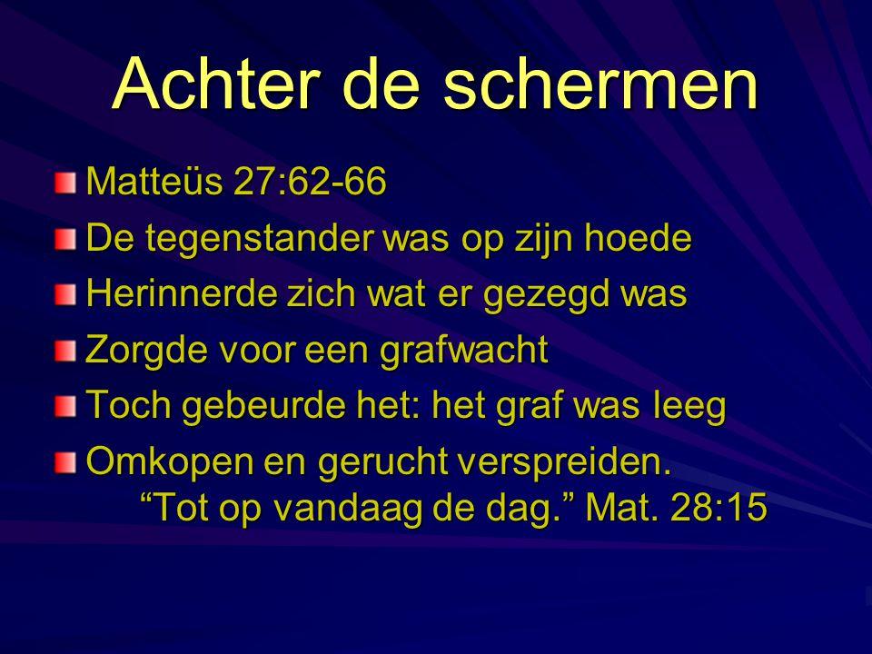Achter de schermen Matteüs 27:62-66 De tegenstander was op zijn hoede Herinnerde zich wat er gezegd was Zorgde voor een grafwacht Toch gebeurde het: h