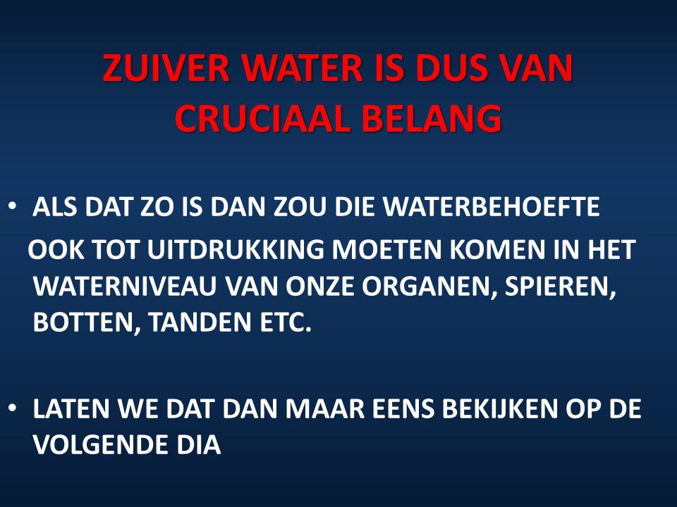 ZUIVER WATER IS DUS VAN CRUCIAAL BELANG ALS DAT ZO IS DAN ZOU DIE WATERBEHOEFTE OOK TOT UITDRUKKING MOETEN KOMEN IN HET WATERNIVEAU VAN ONZE ORGANEN,