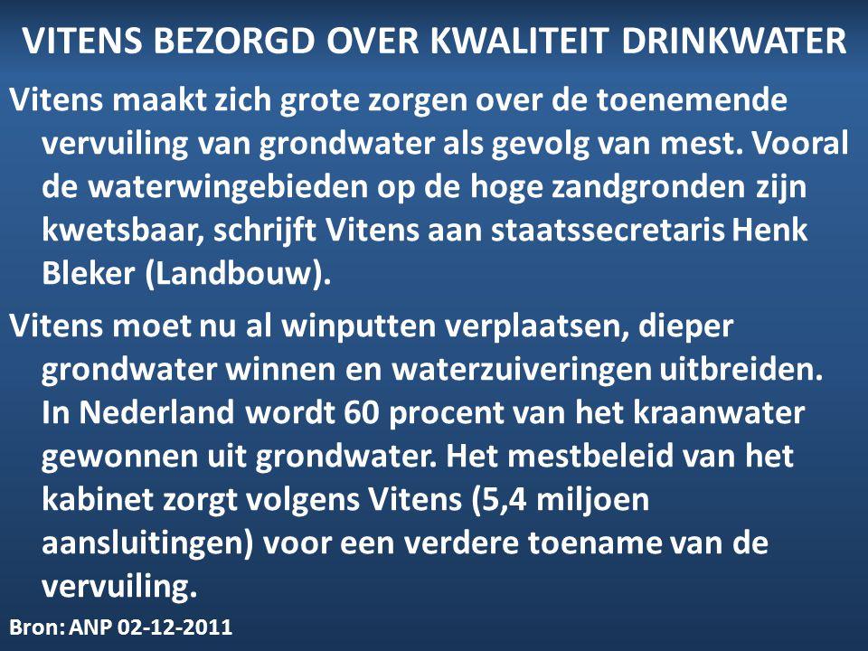 VITENS BEZORGD OVER KWALITEIT DRINKWATER Vitens maakt zich grote zorgen over de toenemende vervuiling van grondwater als gevolg van mest. Vooral de wa