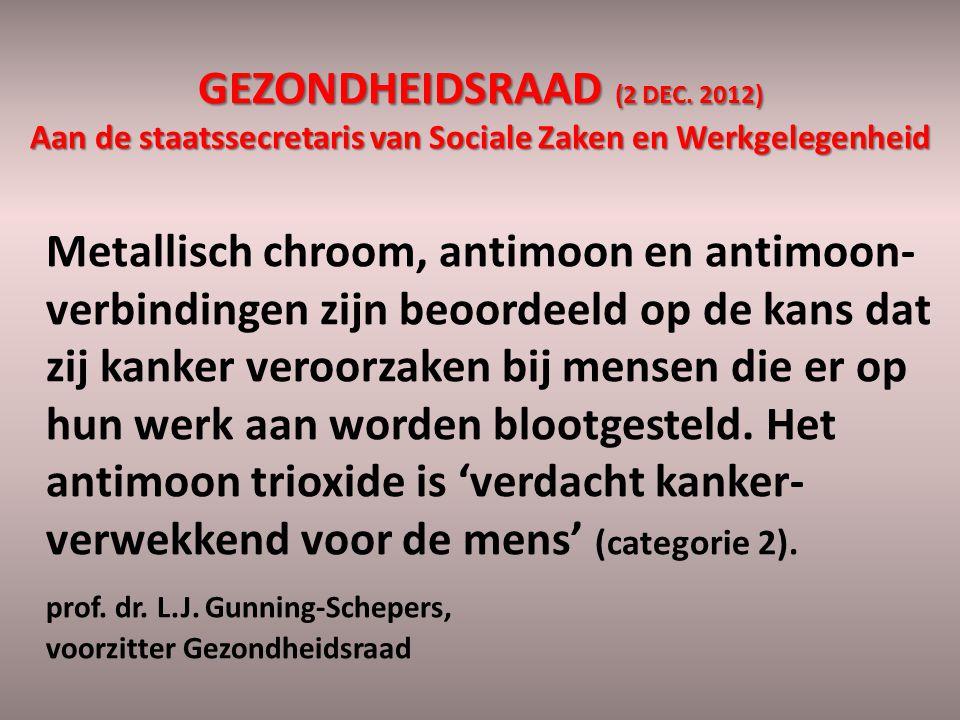 GEZONDHEIDSRAAD (2 DEC. 2012) Aan de staatssecretaris van Sociale Zaken en Werkgelegenheid Metallisch chroom, antimoon en antimoon- verbindingen zijn