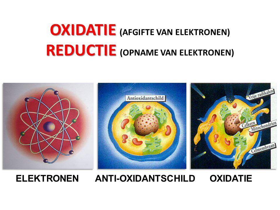 OXIDATIE REDUCTIE OXIDATIE (AFGIFTE VAN ELEKTRONEN) REDUCTIE (OPNAME VAN ELEKTRONEN) ELEKTRONEN ANTI-OXIDANTSCHILD OXIDATIE