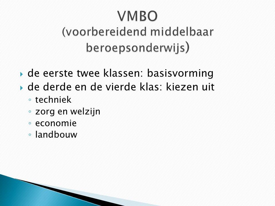  de eerste twee klassen: basisvorming  de derde en de vierde klas: kiezen uit ◦ techniek ◦ zorg en welzijn ◦ economie ◦ landbouw