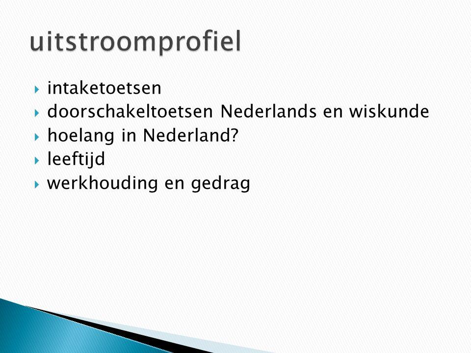  intaketoetsen  doorschakeltoetsen Nederlands en wiskunde  hoelang in Nederland.