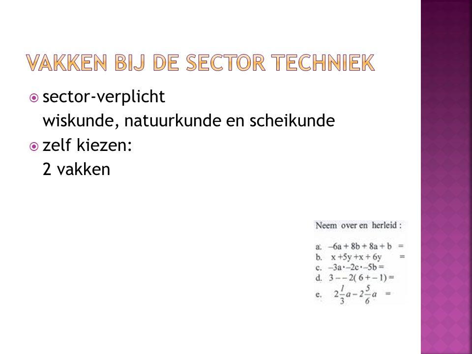  sector-verplicht wiskunde, natuurkunde en scheikunde  zelf kiezen: 2 vakken
