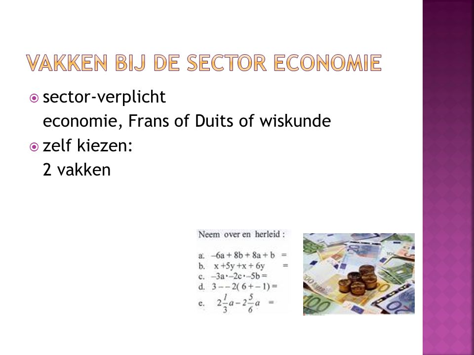  sector-verplicht economie, Frans of Duits of wiskunde  zelf kiezen: 2 vakken