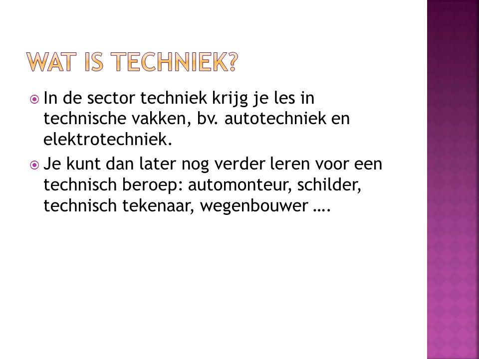  In de sector techniek krijg je les in technische vakken, bv.
