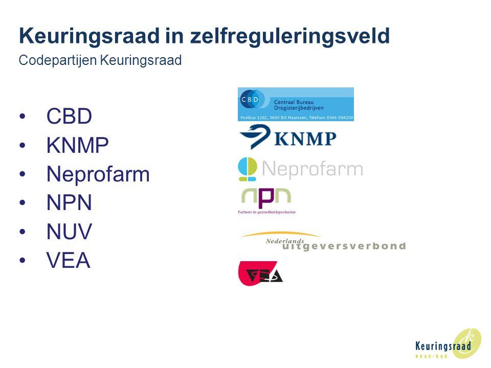 3 Codepartijen Keuringsraad CBD KNMP Neprofarm NPN NUV VEA Keuringsraad in zelfreguleringsveld