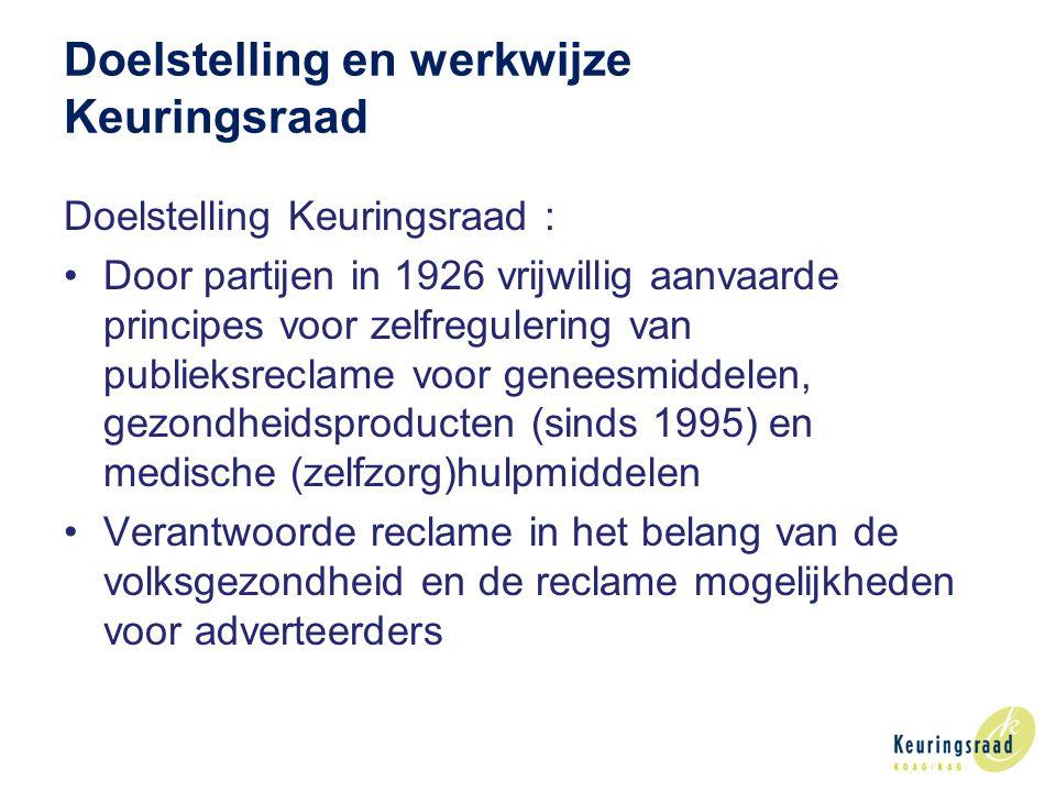 Doelstelling en werkwijze Keuringsraad Doelstelling Keuringsraad : Door partijen in 1926 vrijwillig aanvaarde principes voor zelfregulering van publieksreclame voor geneesmiddelen, gezondheidsproducten (sinds 1995) en medische (zelfzorg)hulpmiddelen Verantwoorde reclame in het belang van de volksgezondheid en de reclame mogelijkheden voor adverteerders