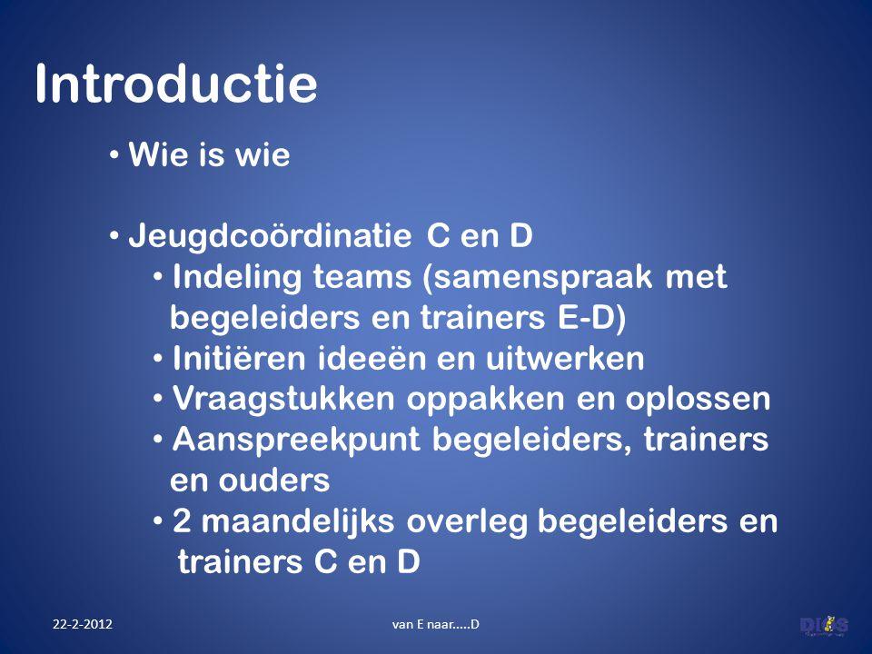 Introductie 22-2-2012van E naar.....D Wie is wie Jeugdcoördinatie C en D Indeling teams (samenspraak met begeleiders en trainers E-D) Initiëren ideeën