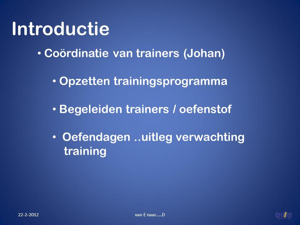 Introductie 22-2-2012van E naar.....D Coördinatie van trainers (Johan) Opzetten trainingsprogramma Begeleiden trainers / oefenstof Oefendagen..uitleg