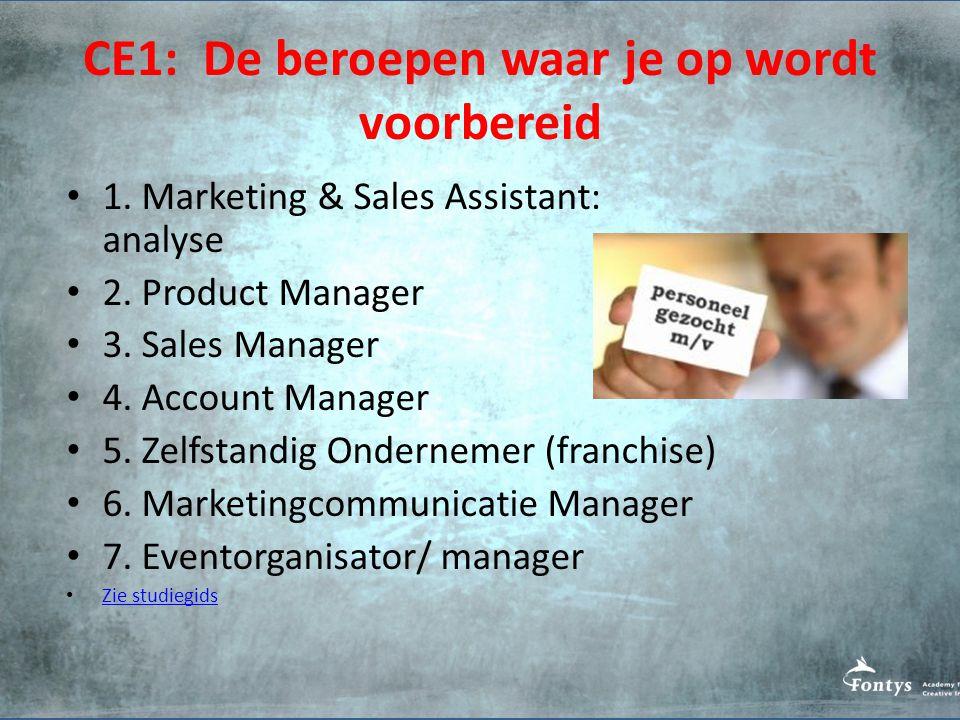 CE1: De beroepen waar je op wordt voorbereid 1.Marketing & Sales Assistant: analyse 2.