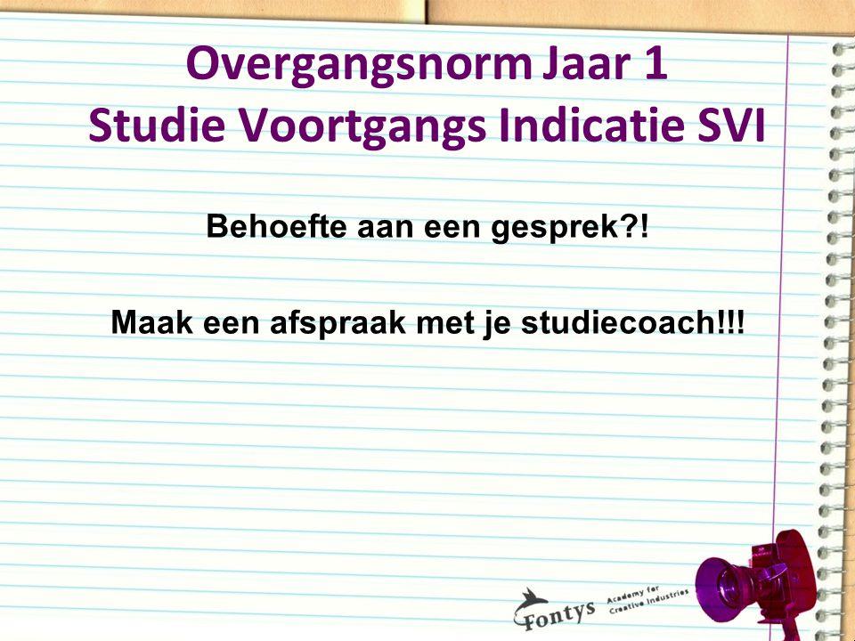 Overgangsnorm Jaar 1 Studie Voortgangs Indicatie SVI Behoefte aan een gesprek?! Maak een afspraak met je studiecoach!!!
