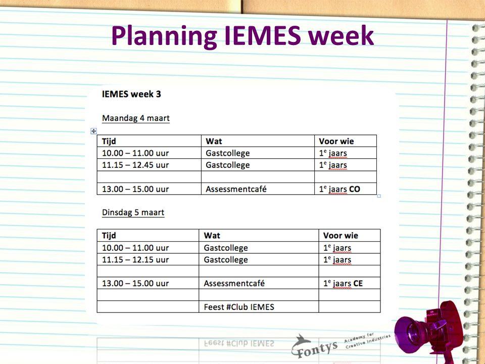 Planning IEMES week