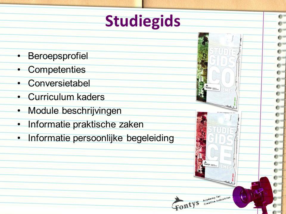 Studiegids Beroepsprofiel Competenties Conversietabel Curriculum kaders Module beschrijvingen Informatie praktische zaken Informatie persoonlijke bege