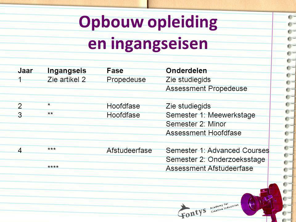 Opbouw opleiding en ingangseisen Jaar Ingangseis Fase Onderdelen 1 Zie artikel 2 Propedeuse Zie studiegids Assessment Propedeuse 2 * Hoofdfase Zie stu