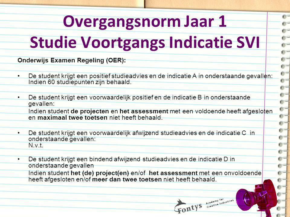 Overgangsnorm Jaar 1 Studie Voortgangs Indicatie SVI Onderwijs Examen Regeling (OER): De student krijgt een positief studieadvies en de indicatie A in