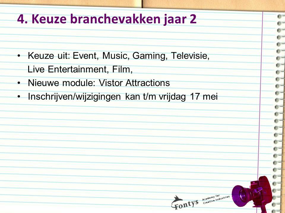 4. Keuze branchevakken jaar 2 Keuze uit: Event, Music, Gaming, Televisie, Live Entertainment, Film, Nieuwe module: Vistor Attractions Inschrijven/wijz