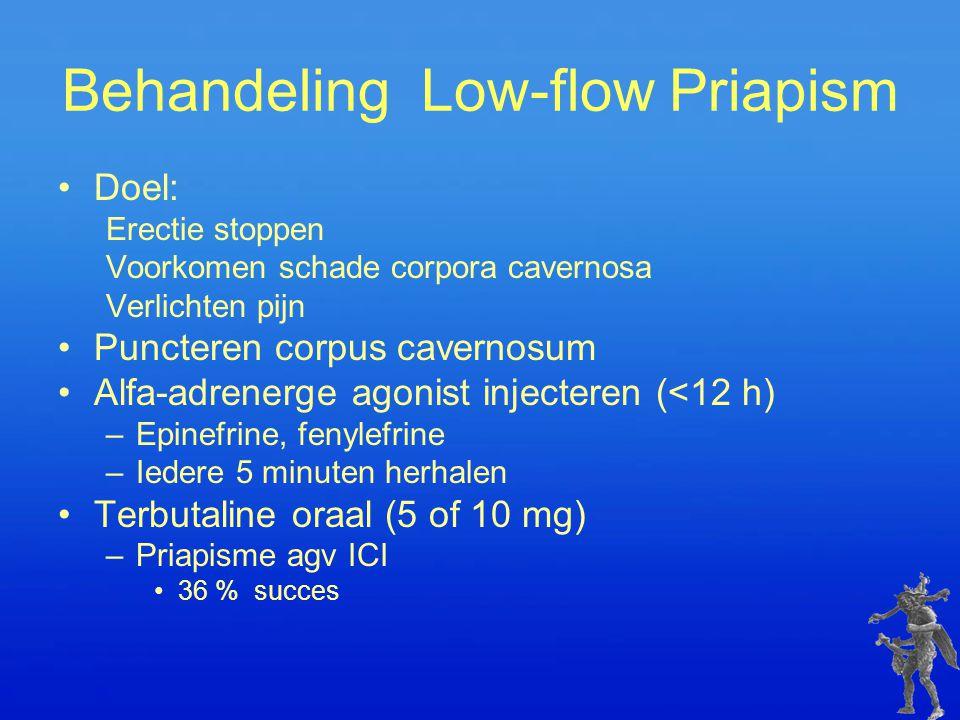 Behandeling Low-flow Priapism Doel: Erectie stoppen Voorkomen schade corpora cavernosa Verlichten pijn Puncteren corpus cavernosum Alfa-adrenerge agon