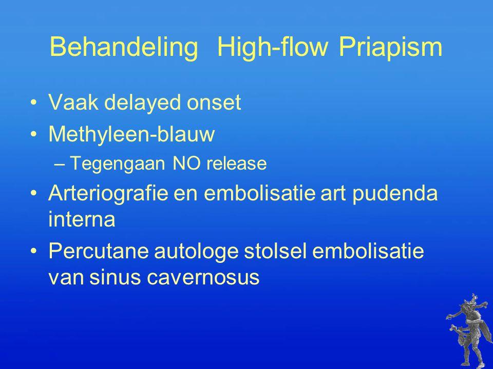 Behandeling High-flow Priapism Vaak delayed onset Methyleen-blauw –Tegengaan NO release Arteriografie en embolisatie art pudenda interna Percutane aut