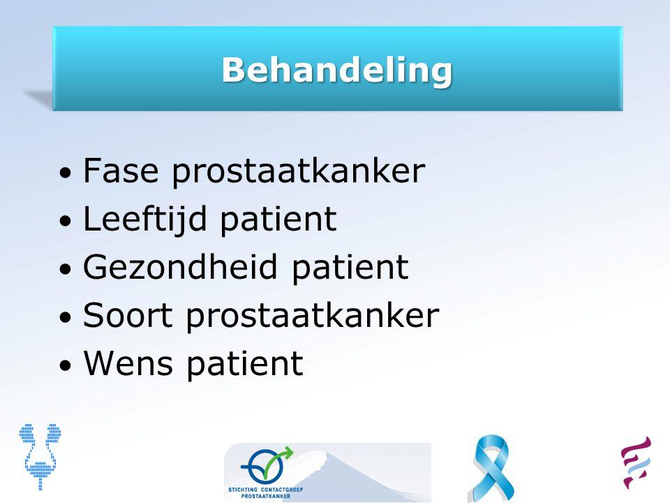 Behandeling Fase prostaatkanker Leeftijd patient Gezondheid patient Soort prostaatkanker Wens patient