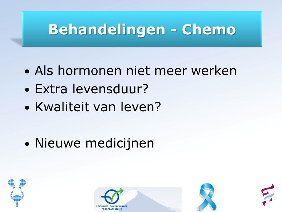 Behandelingen - Chemo Als hormonen niet meer werken Extra levensduur? Kwaliteit van leven? Nieuwe medicijnen