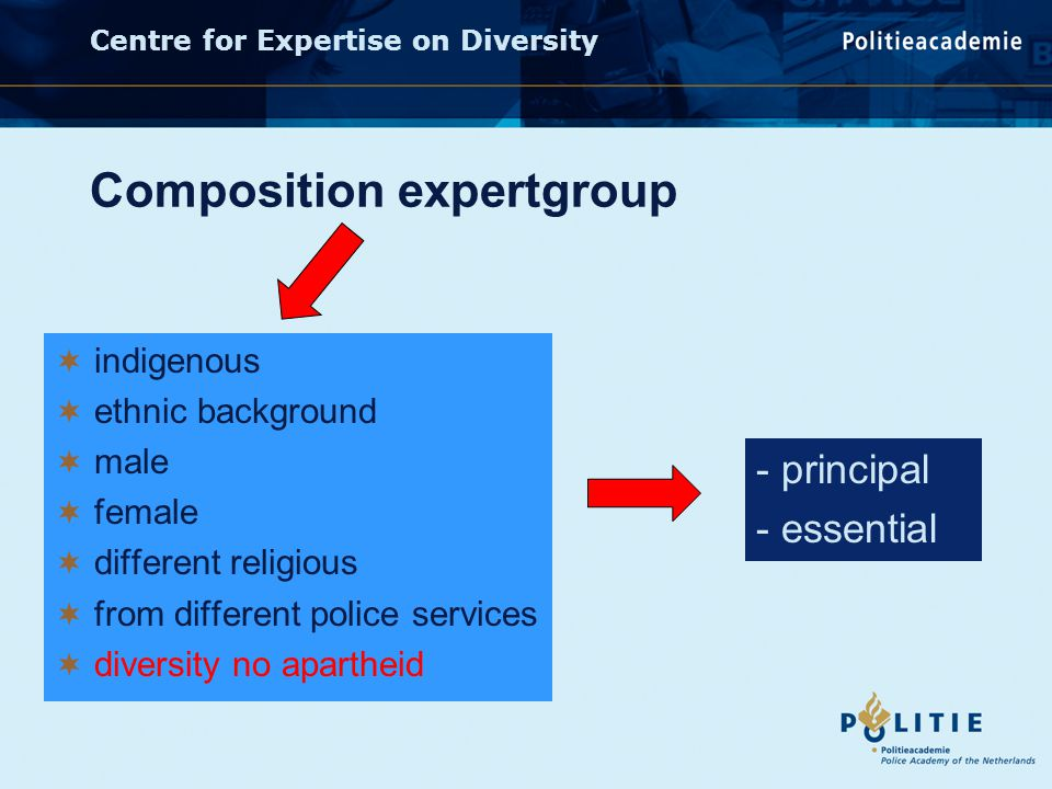 Centre for Expertise on Diversity Composition expertgroup  indigenous  ethnic background  male  female  different religious  from different police services  diversity no apartheid - principal - essential