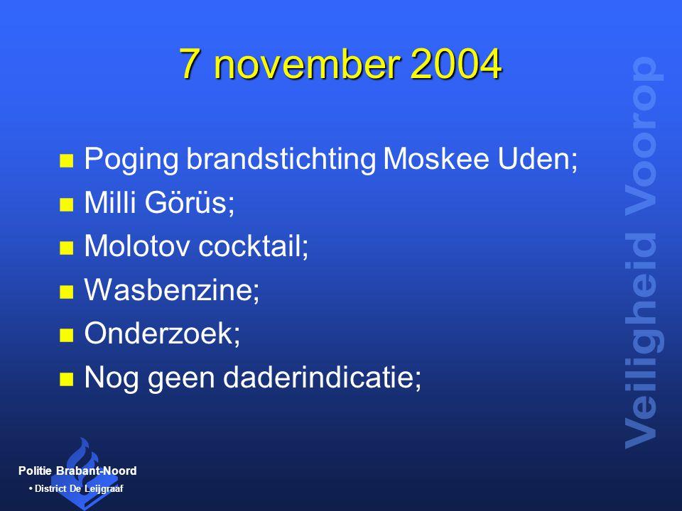 Politie Brabant-Noord District De Leijgraaf 7 november 2004 n Poging brandstichting Moskee Uden; n Milli Görüs; n Molotov cocktail; n Wasbenzine; n On
