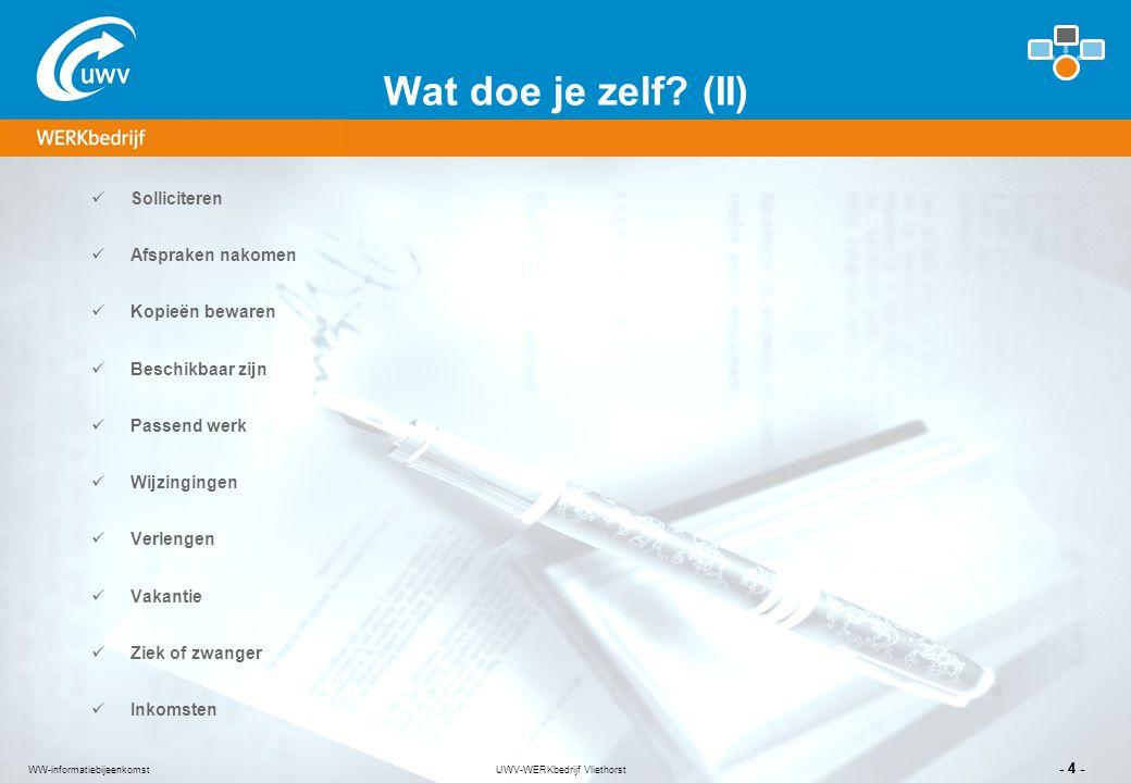 UWV-WERKbedrijf Vliethorst - 4 - WW-informatiebijeenkomst Wat doe je zelf? (II) Solliciteren Afspraken nakomen Kopieën bewaren Beschikbaar zijn Passen