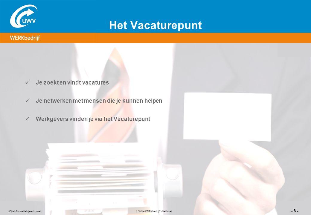 UWV-WERKbedrijf Vliethorst - 8 - WW-informatiebijeenkomst Het Vacaturepunt Je zoekt en vindt vacatures Je netwerken met mensen die je kunnen helpen We