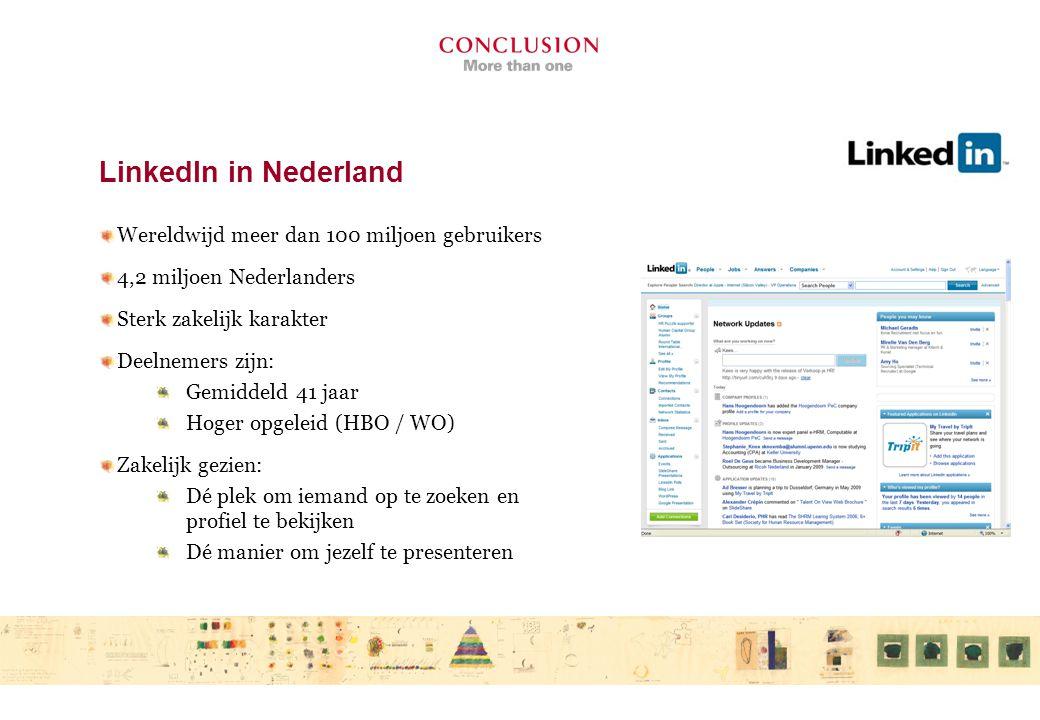 LinkedIn in Nederland Wereldwijd meer dan 100 miljoen gebruikers 4,2 miljoen Nederlanders Sterk zakelijk karakter Deelnemers zijn: Gemiddeld 41 jaar Hoger opgeleid (HBO / WO) Zakelijk gezien: Dé plek om iemand op te zoeken en profiel te bekijken Dé manier om jezelf te presenteren