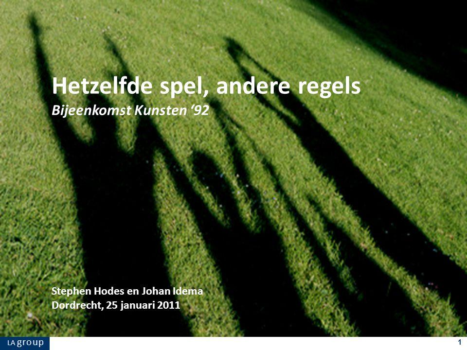 LA g r o u p 1 Stephen Hodes en Johan Idema Dordrecht, 25 januari 2011 Hetzelfde spel, andere regels Bijeenkomst Kunsten '92