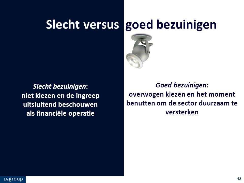 LA g r o u p 13 Goed bezuinigen: overwogen kiezen en het moment benutten om de sector duurzaam te versterken Slecht versus goed bezuinigen Slecht bezu
