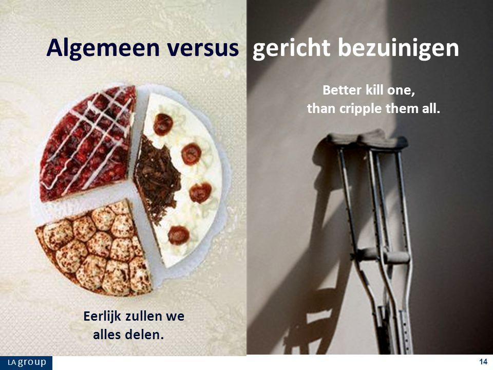 LA g r o u p 14 Eerlijk zullen we alles delen. Algemeen versus gericht bezuinigen Better kill one, than cripple them all.
