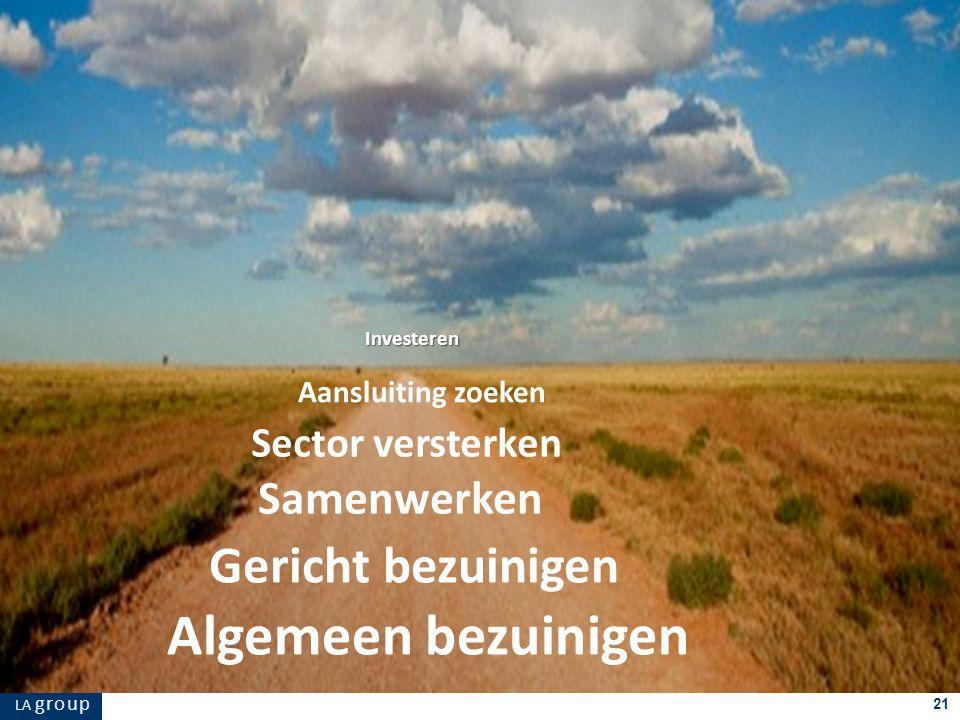 LA g r o u p 21 Algemeen bezuinigen Gericht bezuinigen Samenwerken Sector versterken Investeren Aansluiting zoeken