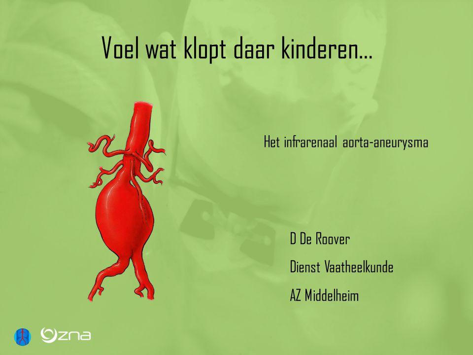 Voel wat klopt daar kinderen… D De Roover Dienst Vaatheelkunde AZ Middelheim Het infrarenaal aorta-aneurysma