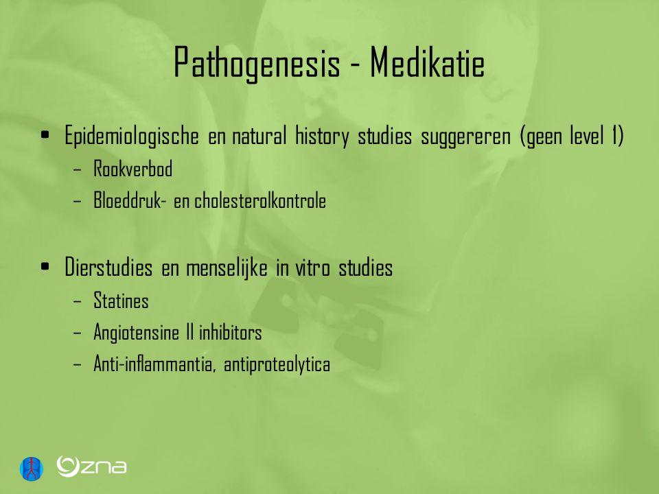 Pathogenesis - Medikatie Epidemiologische en natural history studies suggereren (geen level 1) –Rookverbod –Bloeddruk- en cholesterolkontrole Dierstud