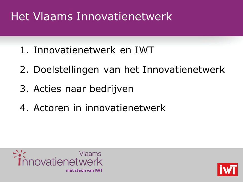met steun van IWT Het Vlaams Innovatienetwerk 1.Innovatienetwerk en IWT 2.Doelstellingen van het Innovatienetwerk 3.Acties naar bedrijven 4.Actoren in innovatienetwerk