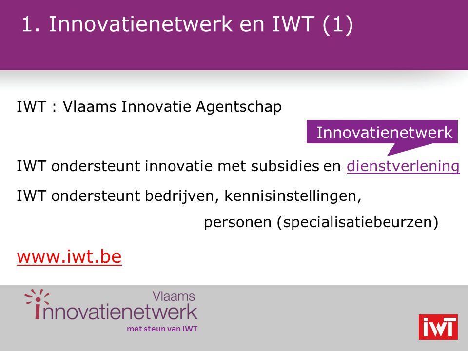 Het Vlaams innovatienetwerk www.innovatienetwerk.be 8 oktober 2009 EFRO-Seminarie Prioriteit 1 'Kenniseconomie en Innovatie' Annie Renders - IWT VIN Coördinator 02 20 90 952 ar@iwt.be