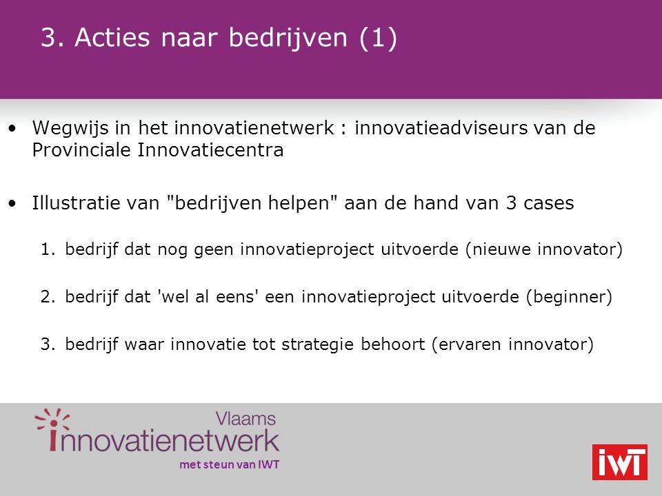 met steun van IWT Wegwijs in het innovatienetwerk : innovatieadviseurs van de Provinciale Innovatiecentra Illustratie van bedrijven helpen aan de hand van 3 cases 1.bedrijf dat nog geen innovatieproject uitvoerde (nieuwe innovator) 2.bedrijf dat wel al eens een innovatieproject uitvoerde (beginner) 3.bedrijf waar innovatie tot strategie behoort (ervaren innovator) 3.