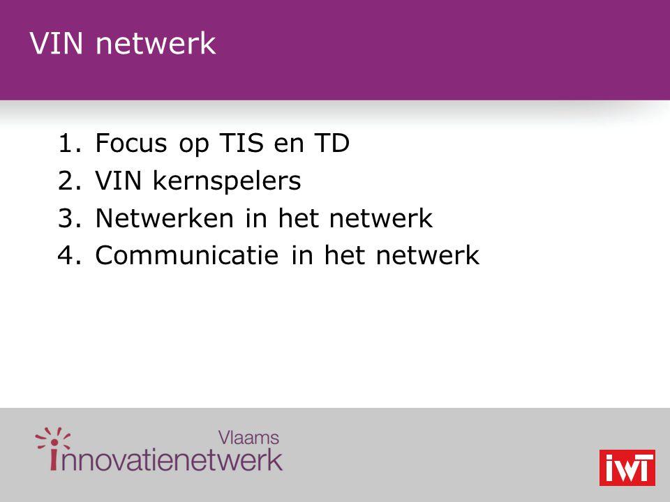 VIN netwerk 1.Focus op TIS en TD 2.VIN kernspelers 3.Netwerken in het netwerk 4.Communicatie in het netwerk