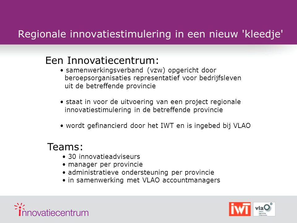 Regionale innovatiestimulering in een nieuw 'kleedje' Een Innovatiecentrum: samenwerkingsverband (vzw) opgericht door beroepsorganisaties representati