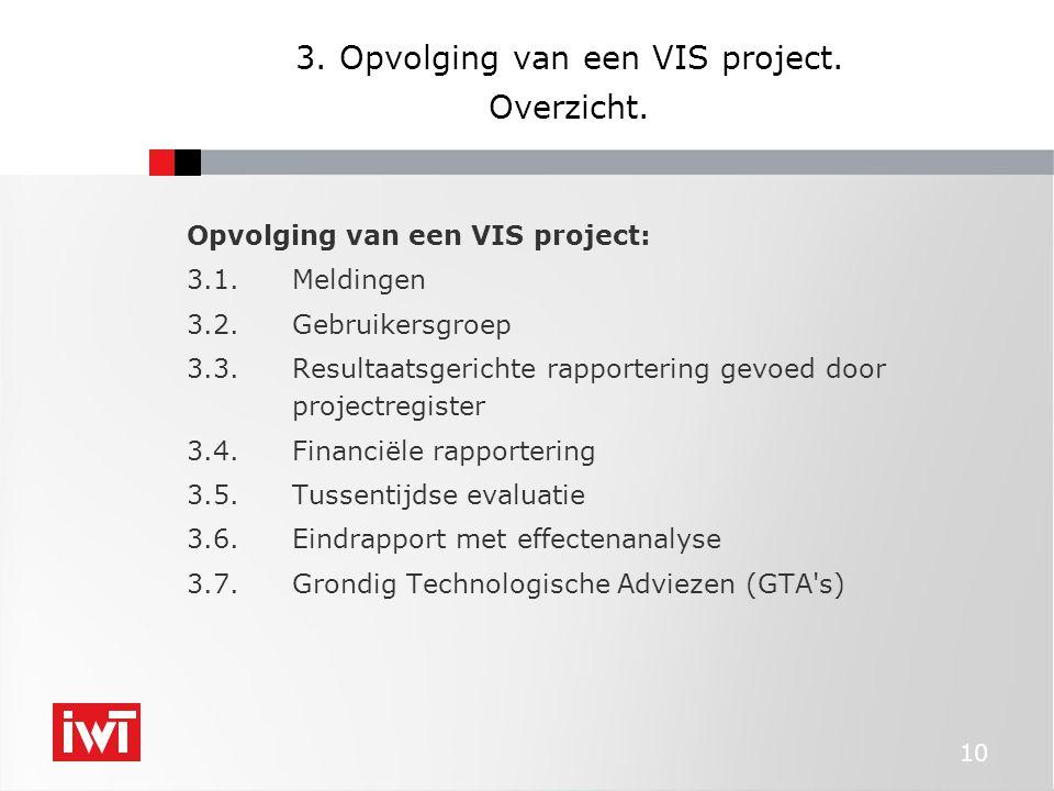 10 3. Opvolging van een VIS project. Overzicht.