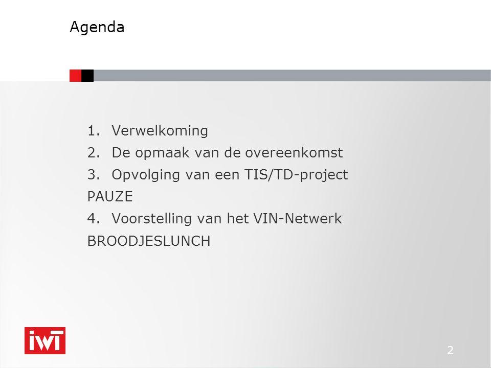 2 Agenda 1.Verwelkoming 2.De opmaak van de overeenkomst 3.Opvolging van een TIS/TD-project PAUZE 4.Voorstelling van het VIN-Netwerk BROODJESLUNCH