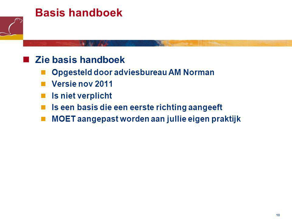 10 Basis handboek Zie basis handboek Opgesteld door adviesbureau AM Norman Versie nov 2011 Is niet verplicht Is een basis die een eerste richting aangeeft MOET aangepast worden aan jullie eigen praktijk