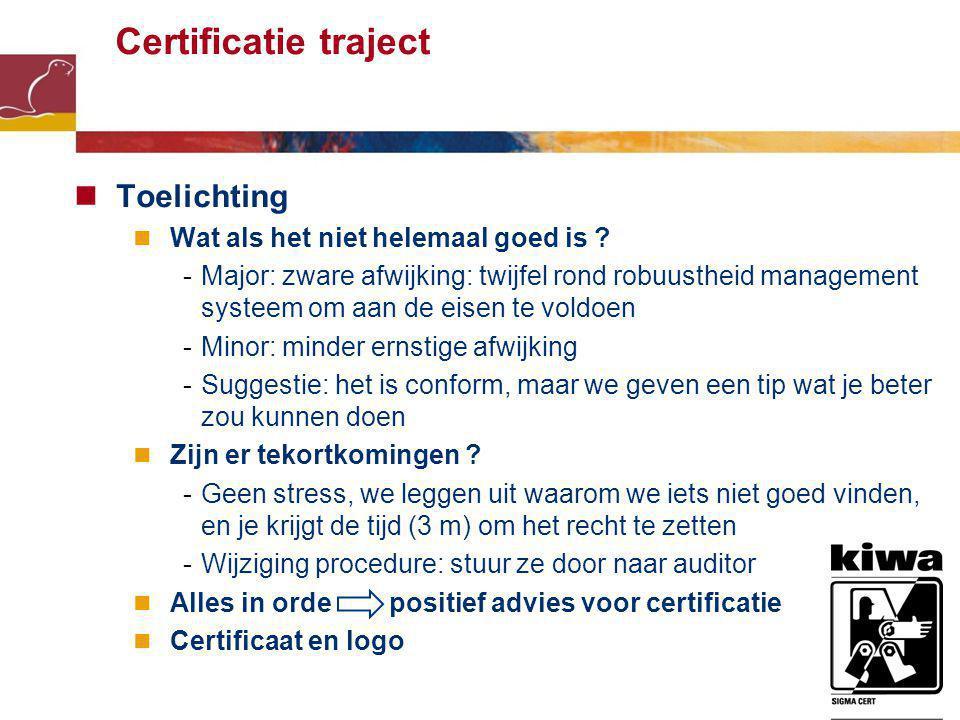 6 Certificatie traject Toelichting Wat als het niet helemaal goed is .