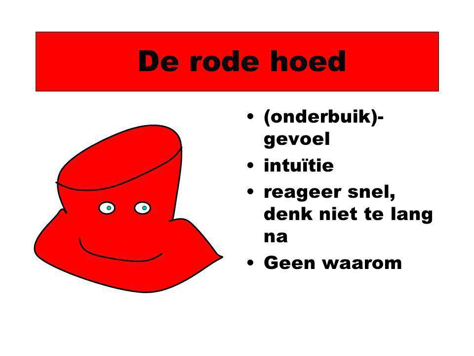 De rode hoed (onderbuik)- gevoel intuïtie reageer snel, denk niet te lang na Geen waarom