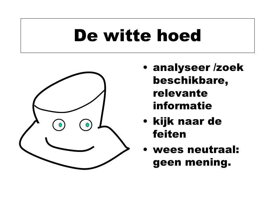 De witte hoed analyseer /zoek beschikbare, relevante informatie kijk naar de feiten wees neutraal: geen mening.